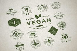 vegan badges vector